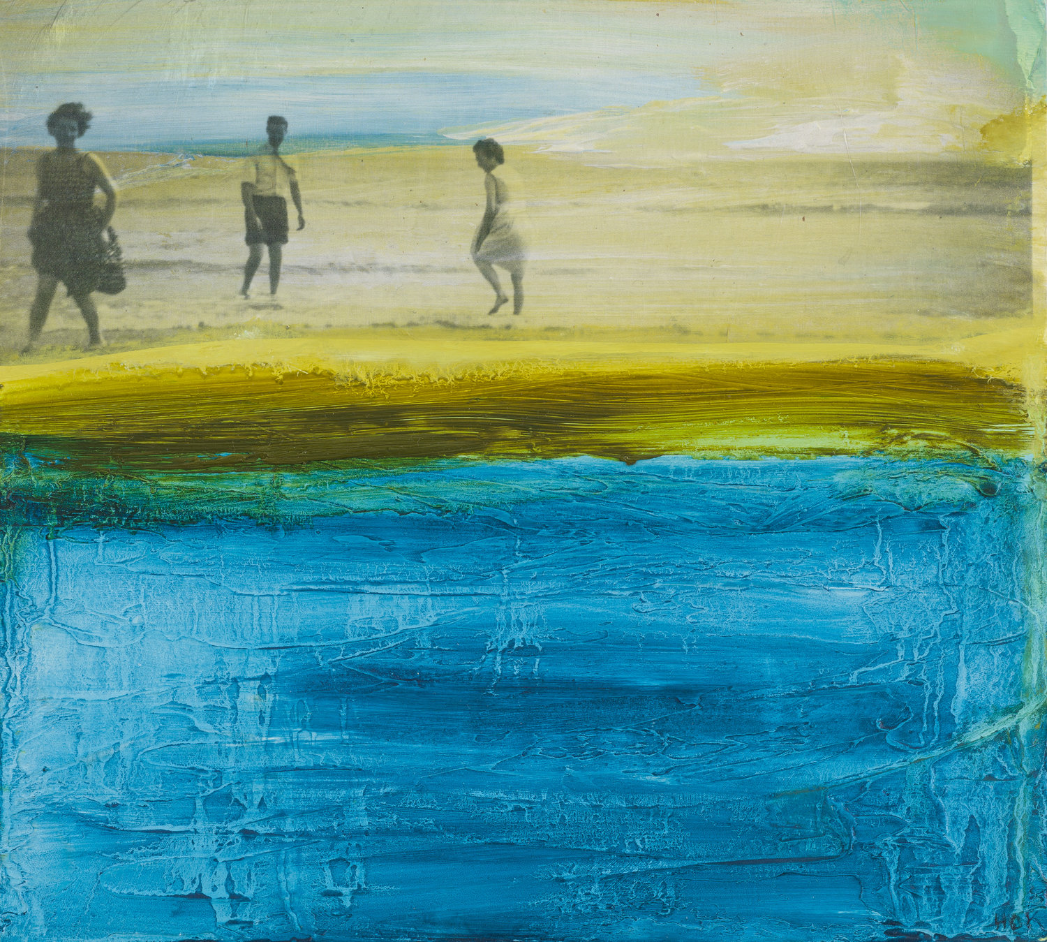 Helen O'Keeffe. Day At The Beach 1960. Painting 23 x 28cms. Frame 36 x 39cms. Oil and Gampi Tissue on board. €480