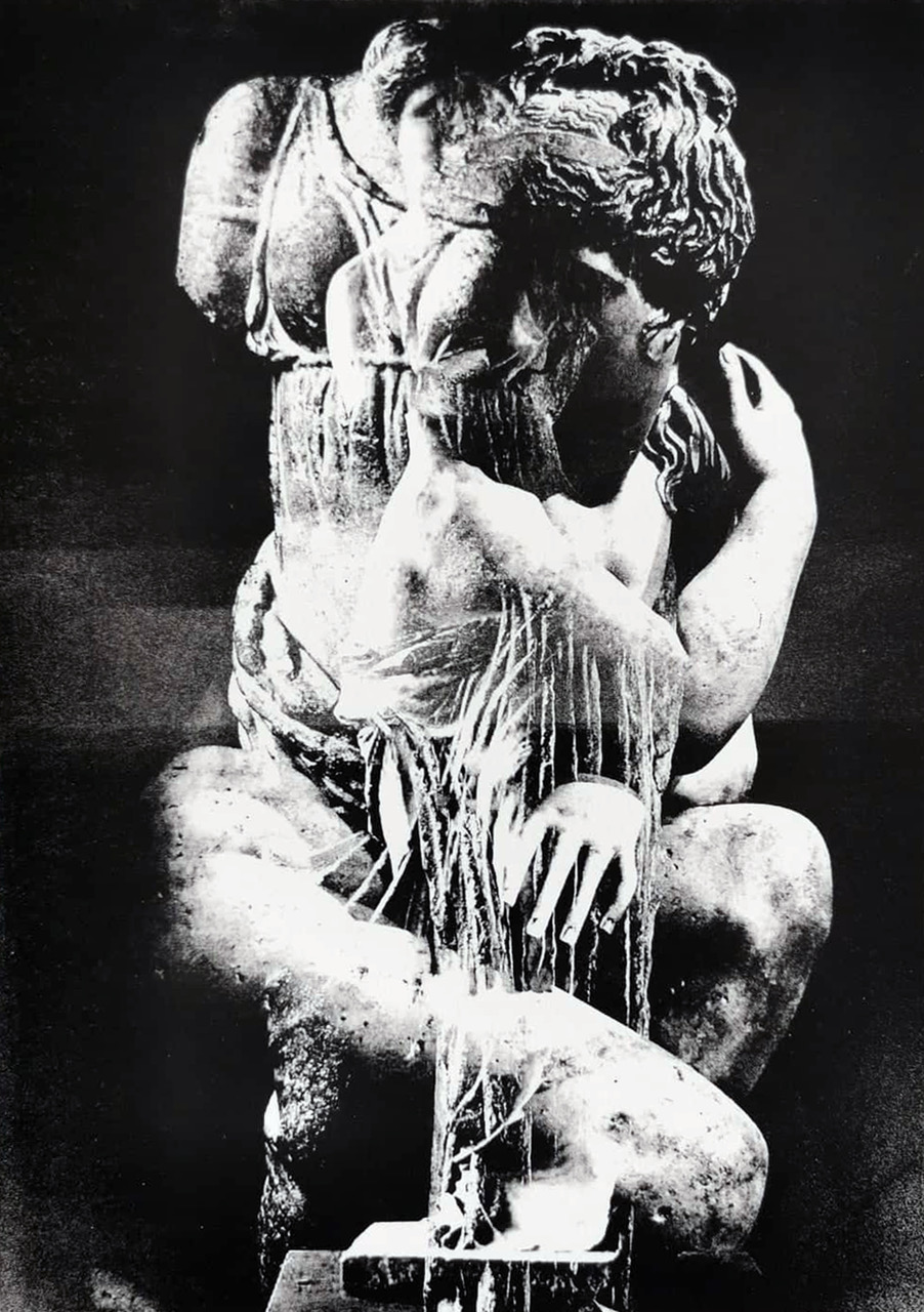 Black and white plate lithography print. The image is a collage of statues of Aphrodite superimposed over each other.